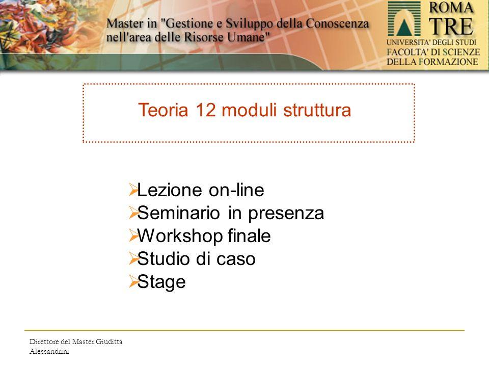 Direttore del Master Giuditta Alessandrini Teoria 12 moduli struttura Lezione on-line Seminario in presenza Workshop finale Studio di caso Stage