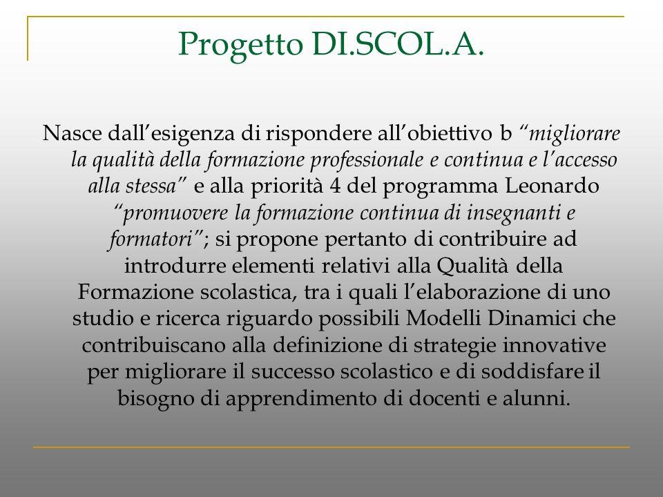 Progetto DI.SCOL.A. Nasce dallesigenza di rispondere allobiettivo b migliorare la qualità della formazione professionale e continua e laccesso alla st