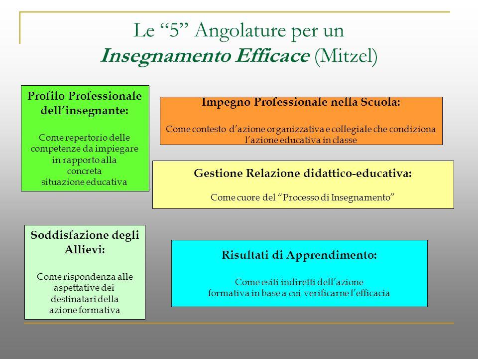 Le 5 Angolature per un Insegnamento Efficace (Mitzel) Profilo Professionale dellinsegnante: Come repertorio delle competenze da impiegare in rapporto