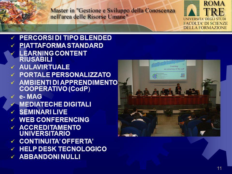 11 PERCORSI DI TIPO BLENDED PIATTAFORMA STANDARD LEARNING CONTENT RIUSABILI AULAVIRTUALE PORTALE PERSONALIZZATO AMBIENTI DI APPRENDIMENTO COOPERATIVO (CodP) e- MAG MEDIATECHE DIGITALI SEMINARI LIVE WEB CONFERENCING ACCREDITAMENTO UNIVERSITARIO CONTINUITA OFFERTA HELP DESK TECNOLOGICO ABBANDONI NULLI