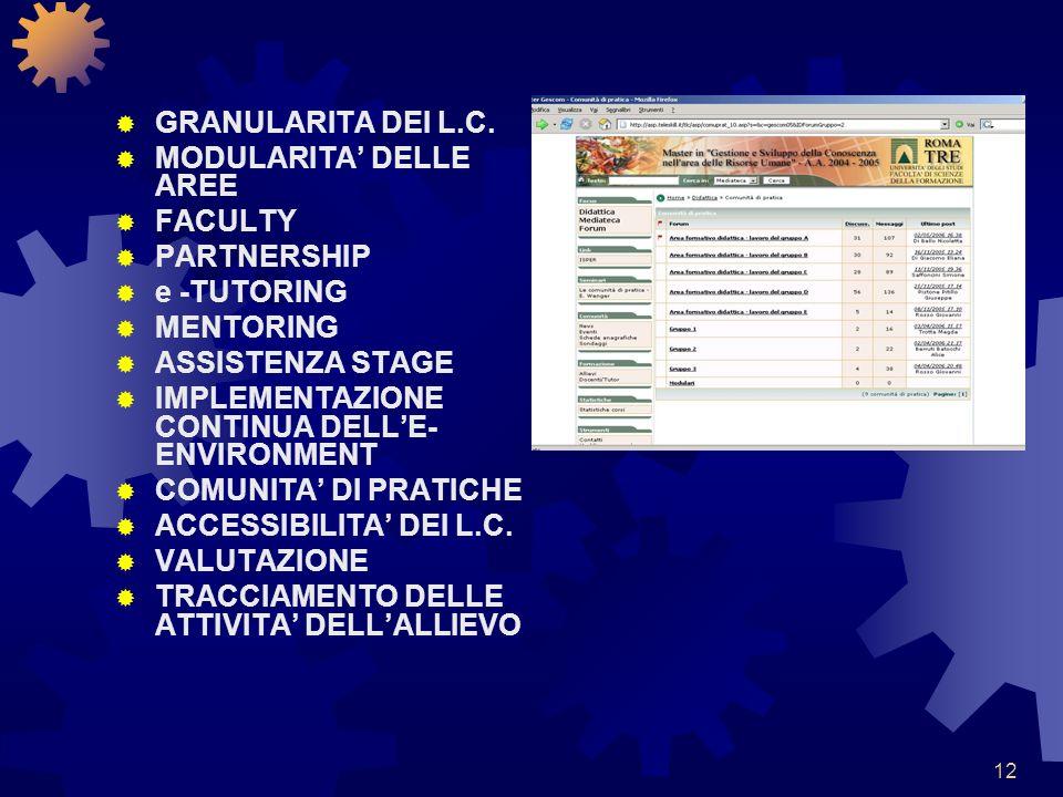 12 GRANULARITA DEI L.C. MODULARITA DELLE AREE FACULTY PARTNERSHIP e -TUTORING MENTORING ASSISTENZA STAGE IMPLEMENTAZIONE CONTINUA DELLE- ENVIRONMENT C