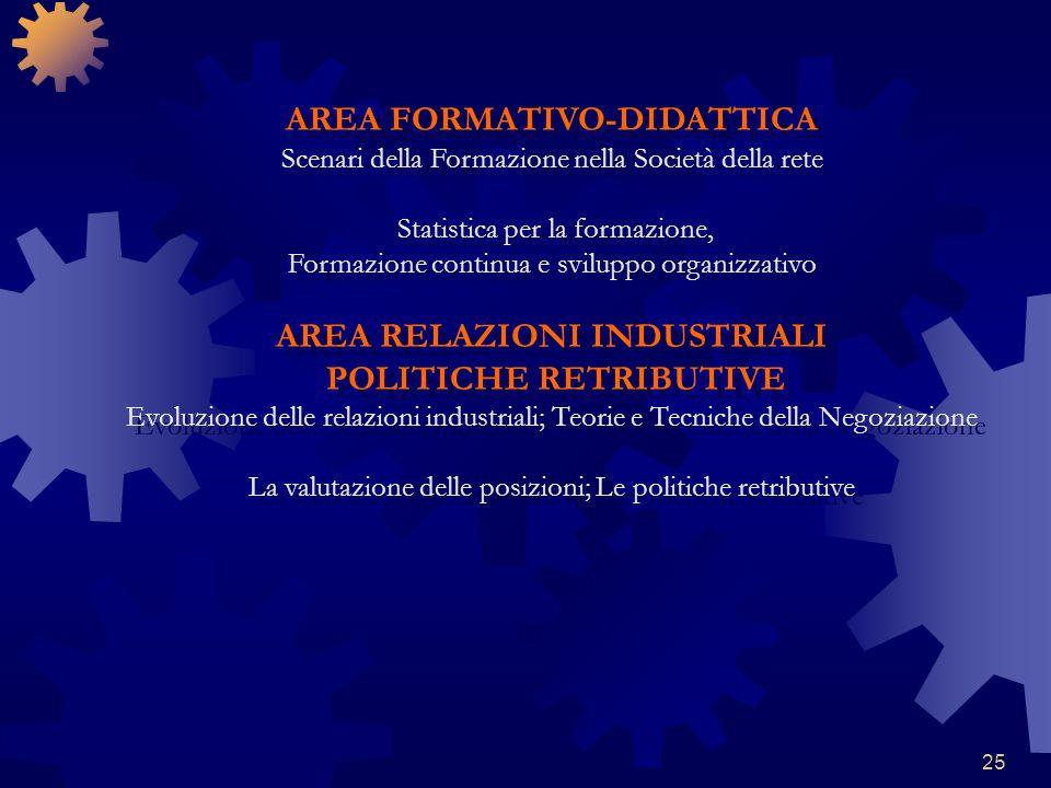 25 AREA FORMATIVO-DIDATTICA Scenari della Formazione nella Società della rete Statistica per la formazione, Formazione continua e sviluppo organizzati