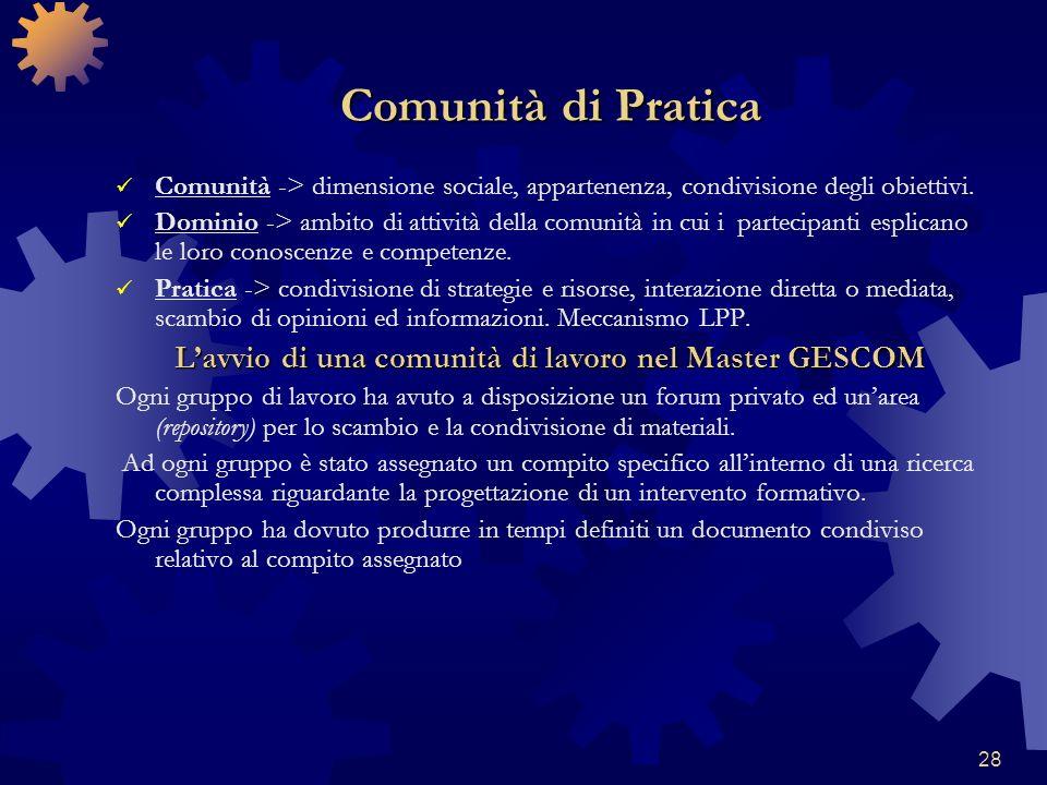 28 Comunità di Pratica Comunità -> dimensione sociale, appartenenza, condivisione degli obiettivi. Dominio -> ambito di attività della comunità in cui