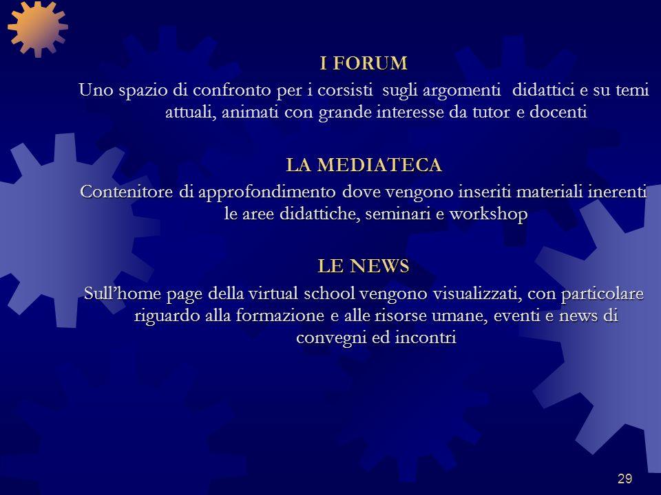 29 I FORUM Uno spazio di confronto per i corsisti sugli argomenti didattici e su temi attuali, animati con grande interesse da tutor e docenti LA MEDI