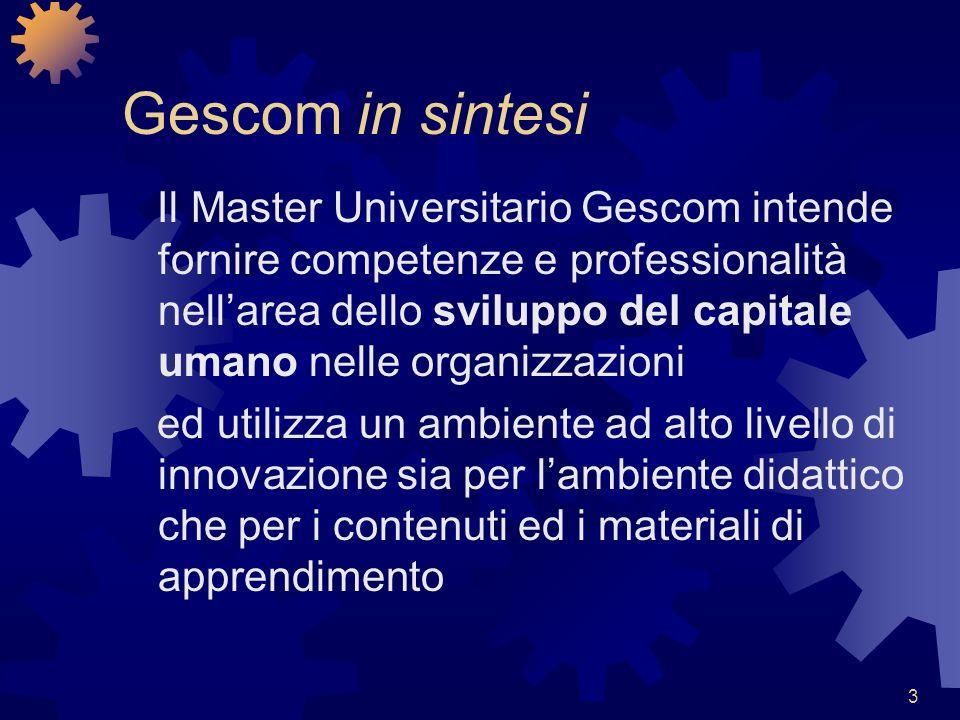 3 Gescom in sintesi Il Master Universitario Gescom intende fornire competenze e professionalità nellarea dello sviluppo del capitale umano nelle organ