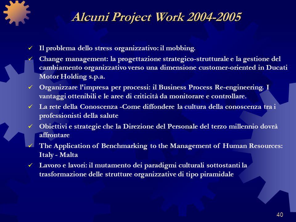 40 Il problema dello stress organizzativo: il mobbing. Change management: la progettazione strategico-strutturale e la gestione del cambiamento organi
