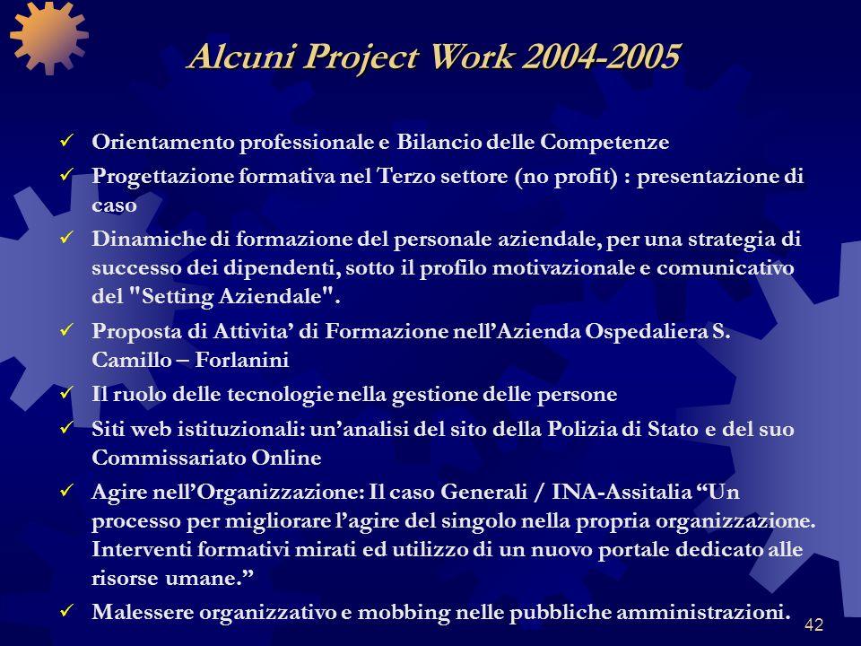 42 Orientamento professionale e Bilancio delle Competenze Progettazione formativa nel Terzo settore (no profit) : presentazione di caso Dinamiche di f