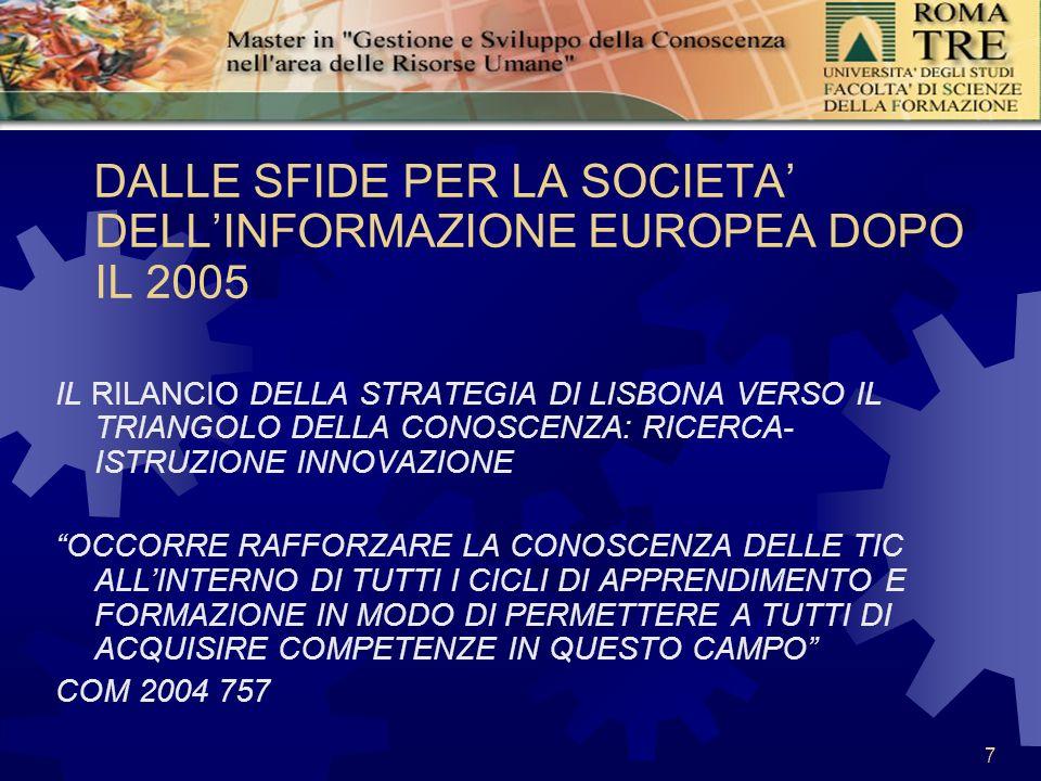7 DALLE SFIDE PER LA SOCIETA DELLINFORMAZIONE EUROPEA DOPO IL 2005 IL RILANCIO DELLA STRATEGIA DI LISBONA VERSO IL TRIANGOLO DELLA CONOSCENZA: RICERCA- ISTRUZIONE INNOVAZIONE OCCORRE RAFFORZARE LA CONOSCENZA DELLE TIC ALLINTERNO DI TUTTI I CICLI DI APPRENDIMENTO E FORMAZIONE IN MODO DI PERMETTERE A TUTTI DI ACQUISIRE COMPETENZE IN QUESTO CAMPO COM 2004 757