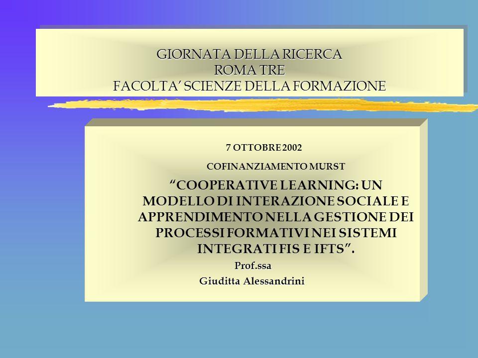 GIORNATA DELLA RICERCA ROMA TRE FACOLTA SCIENZE DELLA FORMAZIONE 7 OTTOBRE 2002 COFINANZIAMENTO MURST COOPERATIVE LEARNING: UN MODELLO DI INTERAZIONE SOCIALE E APPRENDIMENTO NELLA GESTIONE DEI PROCESSI FORMATIVI NEI SISTEMI INTEGRATI FIS E IFTS.