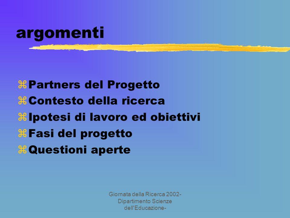 Giornata della Ricerca 2002- Dipartimento Scienze dell Educazione- argomenti zPartners del Progetto zContesto della ricerca zIpotesi di lavoro ed obiettivi zFasi del progetto zQuestioni aperte