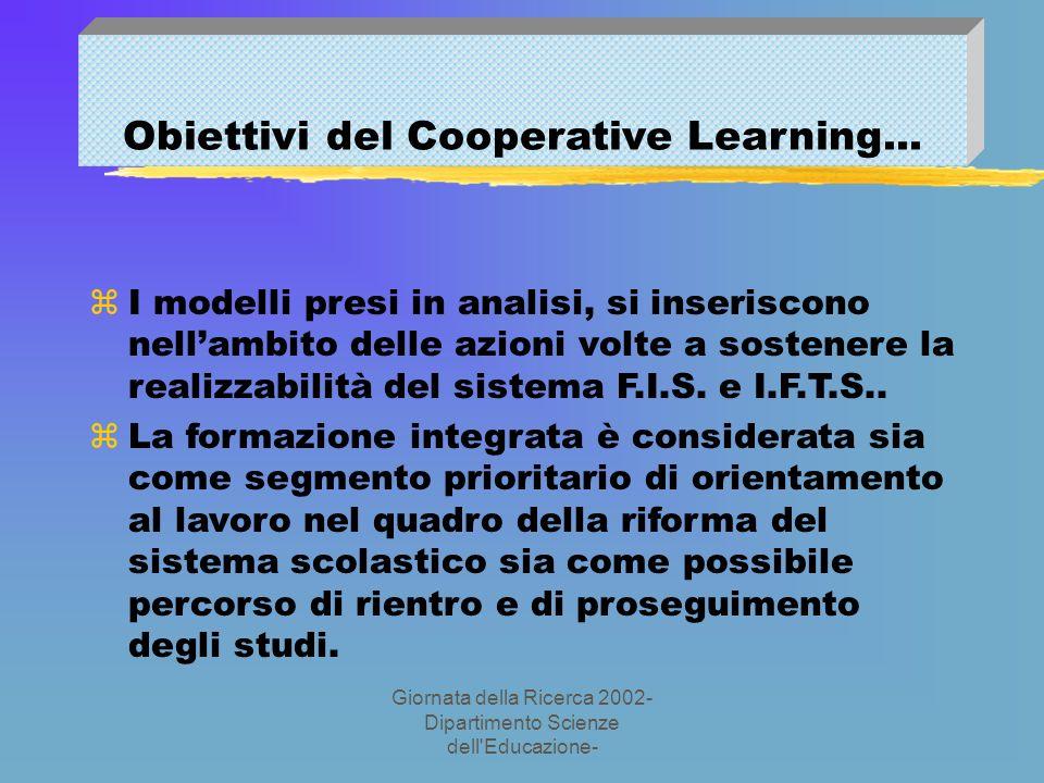 Giornata della Ricerca 2002- Dipartimento Scienze dell Educazione- Obiettivi del Cooperative Learning...