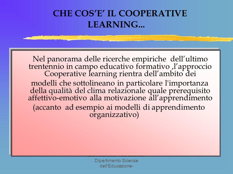 Giornata della Ricerca 2002- Dipartimento Scienze dell Educazione- CHE COSE IL COOPERATIVE LEARNING...