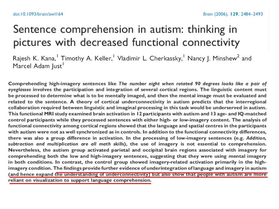 Reduced frontal-posterior cortical connectivity. (Sahyoun et al., 2010)