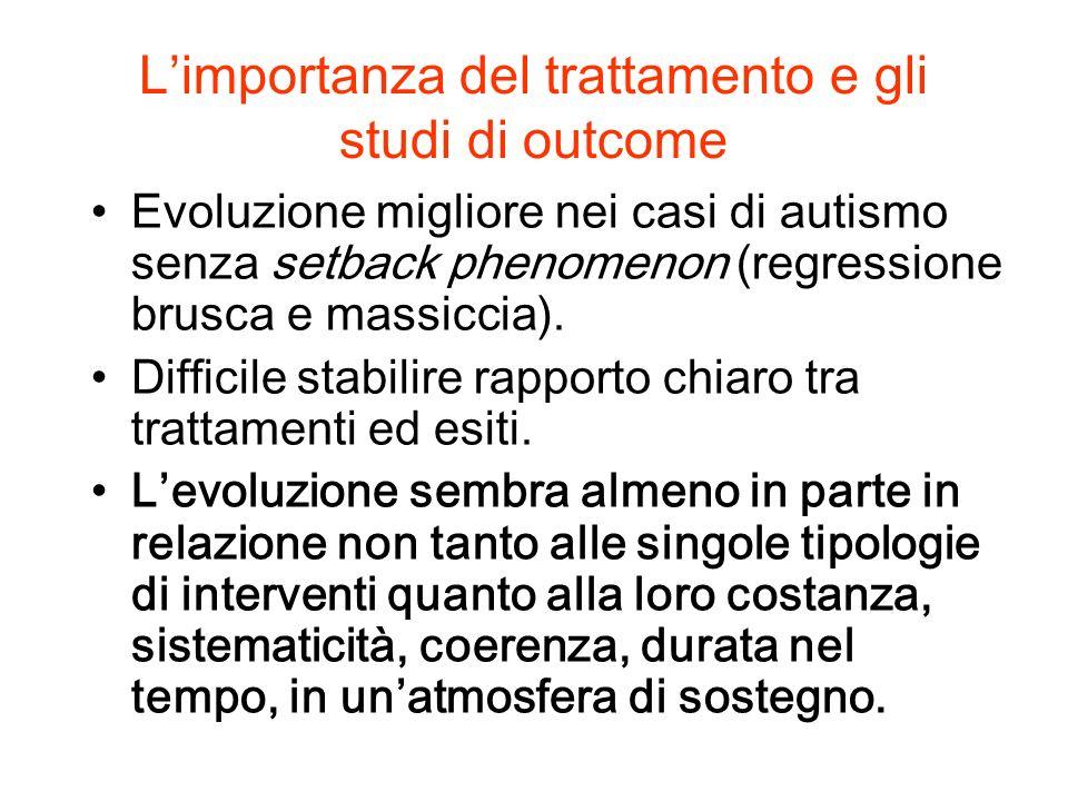 Limportanza dellintervento e gli studi di outcome Gli outcome sono diversissimi: segnalati progressi nelladattamento funzionale, minori nellambito dellautonomia.