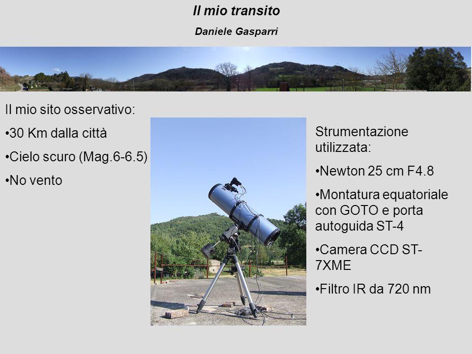 Il mio transito Daniele Gasparri Il mio sito osservativo: 30 Km dalla città Cielo scuro (Mag.6-6.5) No vento Strumentazione utilizzata: Newton 25 cm F4.8 Montatura equatoriale con GOTO e porta autoguida ST-4 Camera CCD ST- 7XME Filtro IR da 720 nm
