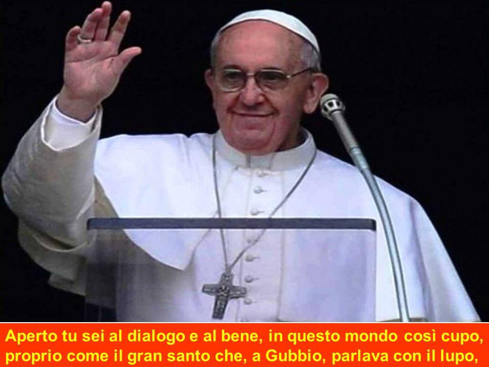 Aperto tu sei al dialogo e al bene, in questo mondo così cupo, proprio come il gran santo che, a Gubbio, parlava con il lupo,