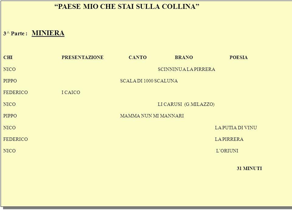 PAESE MIO CHE STAI SULLA COLLINA 3^ Parte : MINIERA CHIPRESENTAZIONE CANTO BRANO POESIA NICO SCINNINU A LA PIRRERA PIPPOSCALA DI 1000 SCALUNA FEDERICOI CAICO NICO LI CARUSI (G.MILAZZO) PIPPOMAMMA NUN MI MANNARI NICO LA PUTIA DI VINU FEDERICO LA PIRRERA NICO LORIUNI 31 MINUTI PAESE MIO CHE STAI SULLA COLLINA 3^ Parte : MINIERA CHIPRESENTAZIONE CANTO BRANO POESIA NICO SCINNINU A LA PIRRERA PIPPOSCALA DI 1000 SCALUNA FEDERICOI CAICO NICO LI CARUSI (G.MILAZZO) PIPPOMAMMA NUN MI MANNARI NICO LA PUTIA DI VINU FEDERICO LA PIRRERA NICO LORIUNI 31 MINUTI