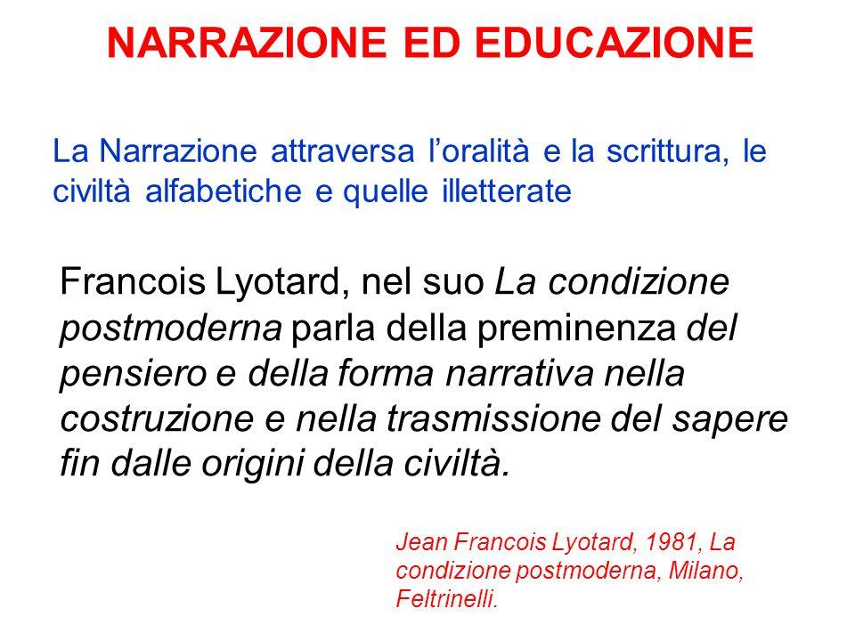 NARRAZIONE ED EDUCAZIONE Francois Lyotard, nel suo La condizione postmoderna parla della preminenza del pensiero e della forma narrativa nella costruz