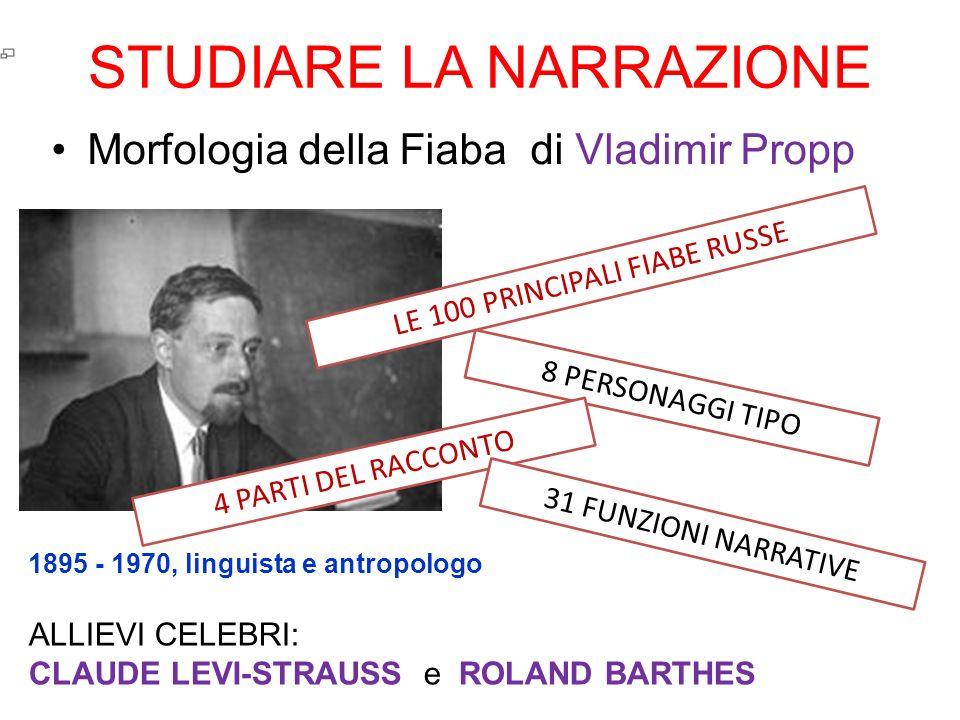 STUDIARE LA NARRAZIONE Morfologia della Fiaba di Vladimir Propp 1895 - 1970, linguista e antropologo LE 100 PRINCIPALI FIABE RUSSE 8 PERSONAGGI TIPO 4