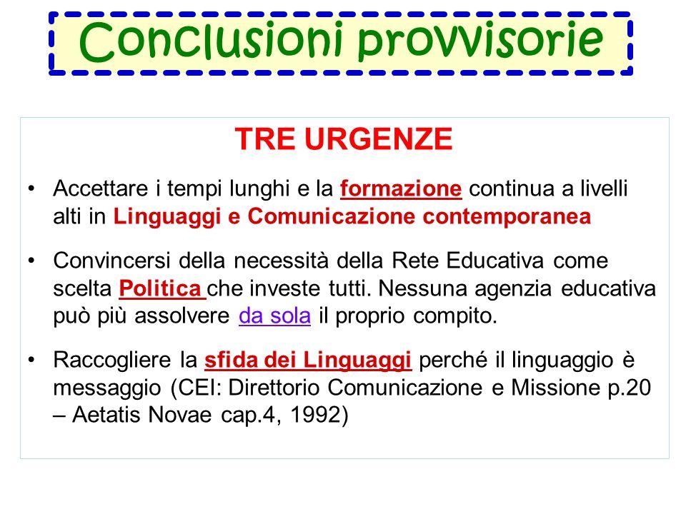 Conclusioni provvisorie TRE URGENZE Accettare i tempi lunghi e la formazione continua a livelli alti in Linguaggi e Comunicazione contemporanea Convincersi della necessità della Rete Educativa come scelta Politica che investe tutti.