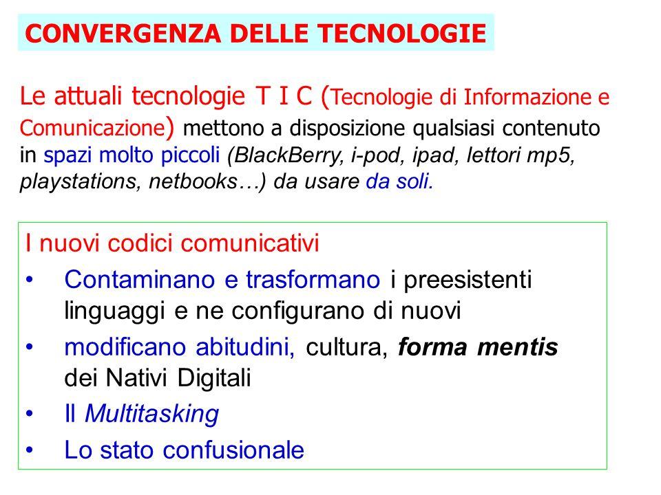 Le attuali tecnologie T I C ( Tecnologie di Informazione e Comunicazione ) mettono a disposizione qualsiasi contenuto in spazi molto piccoli (BlackBerry, i-pod, ipad, lettori mp5, playstations, netbooks…) da usare da soli.