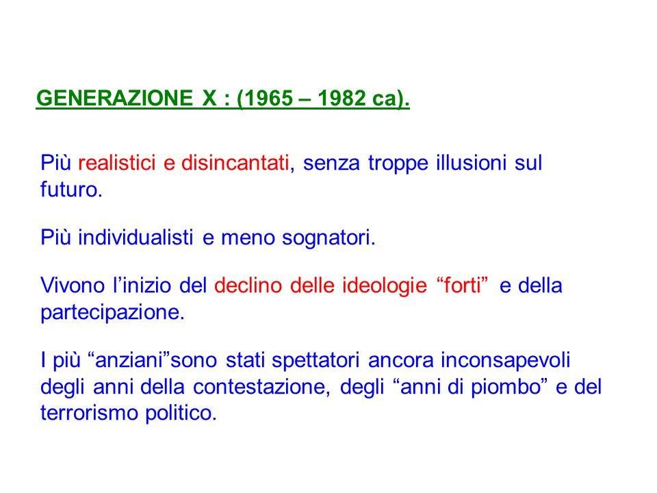 GENERAZIONE X : (1965 – 1982 ca).Più realistici e disincantati, senza troppe illusioni sul futuro.