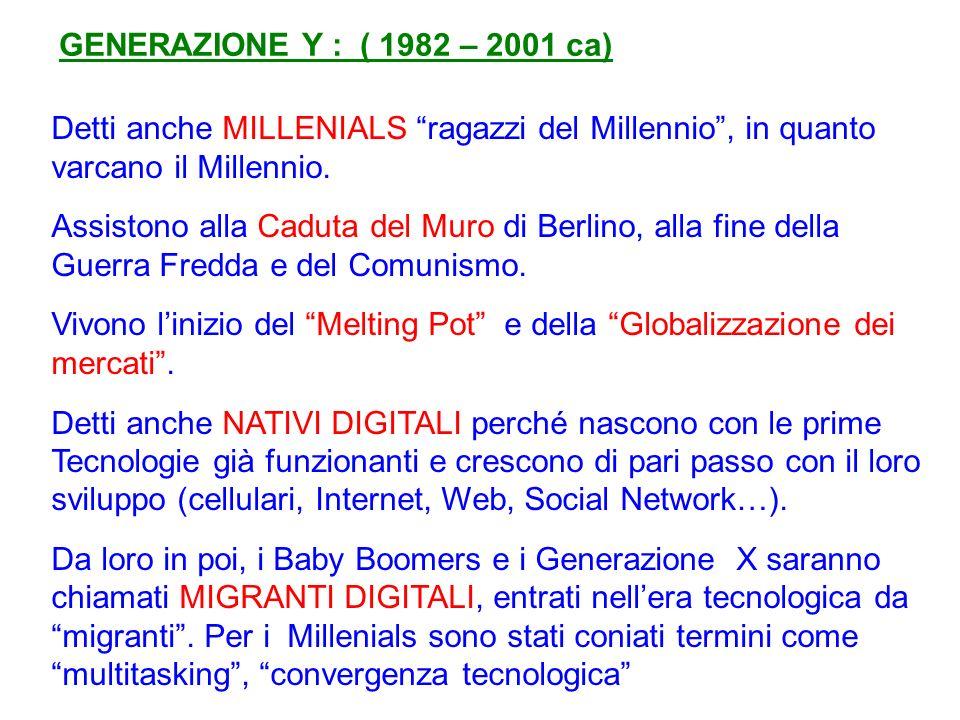 GENERAZIONE Y : ( 1982 – 2001 ca) Detti anche MILLENIALS ragazzi del Millennio, in quanto varcano il Millennio.