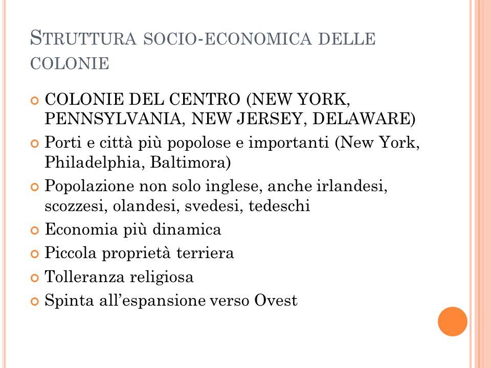 S TRUTTURA SOCIO - ECONOMICA DELLE COLONIE COLONIE DEL CENTRO (NEW YORK, PENNSYLVANIA, NEW JERSEY, DELAWARE) Porti e città più popolose e importanti (