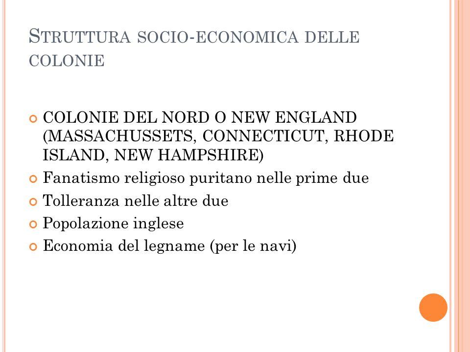 S TRUTTURA SOCIO - ECONOMICA DELLE COLONIE COLONIE DEL NORD O NEW ENGLAND (MASSACHUSSETS, CONNECTICUT, RHODE ISLAND, NEW HAMPSHIRE) Fanatismo religios