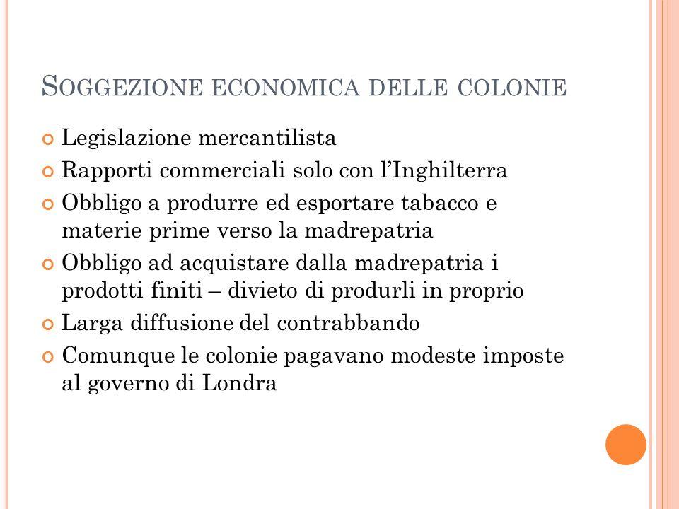 S OGGEZIONE ECONOMICA DELLE COLONIE Legislazione mercantilista Rapporti commerciali solo con lInghilterra Obbligo a produrre ed esportare tabacco e ma