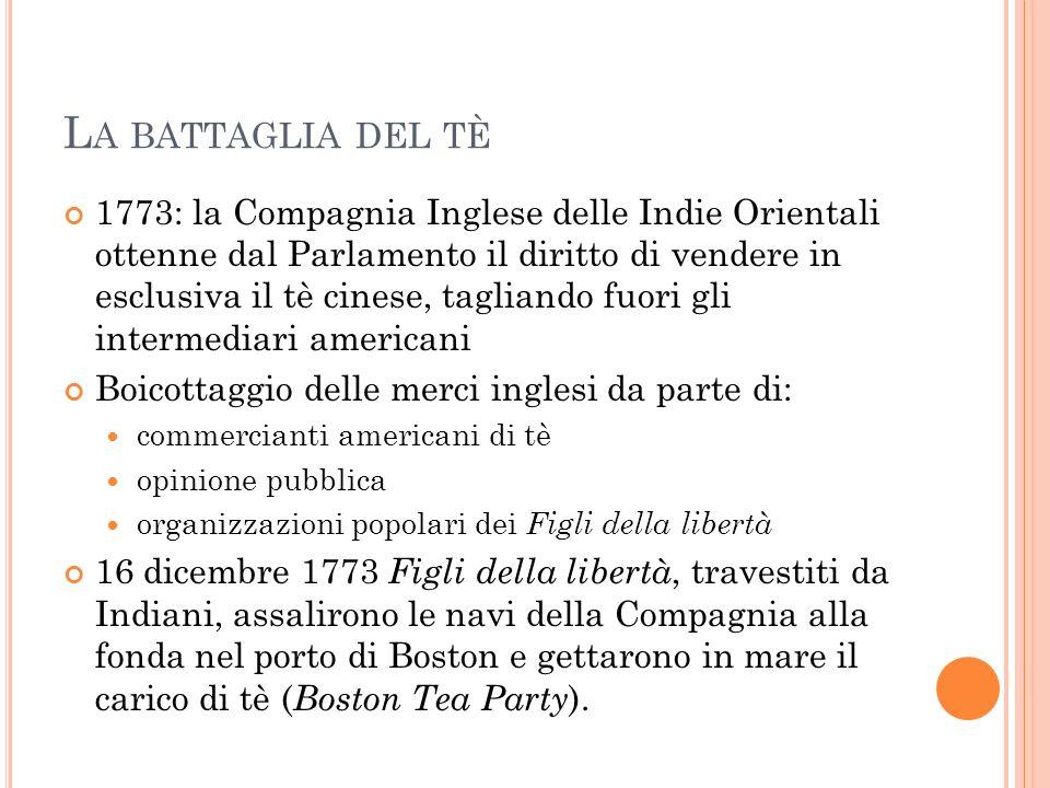 L A BATTAGLIA DEL TÈ 1773: la Compagnia Inglese delle Indie Orientali ottenne dal Parlamento il diritto di vendere in esclusiva il tè cinese, tagliand