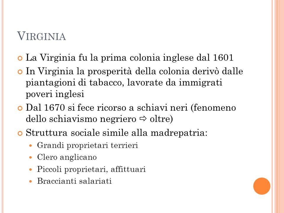 La Virginia fu la prima colonia inglese dal 1601 In Virginia la prosperità della colonia derivò dalle piantagioni di tabacco, lavorate da immigrati po