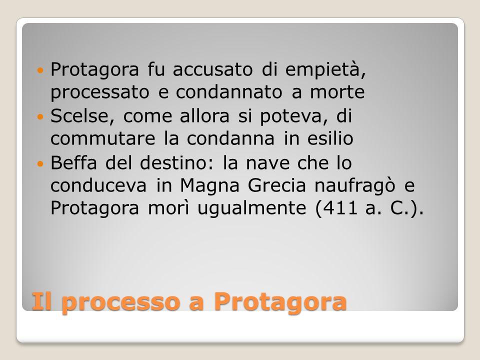 Il processo a Protagora Protagora fu accusato di empietà, processato e condannato a morte Scelse, come allora si poteva, di commutare la condanna in e