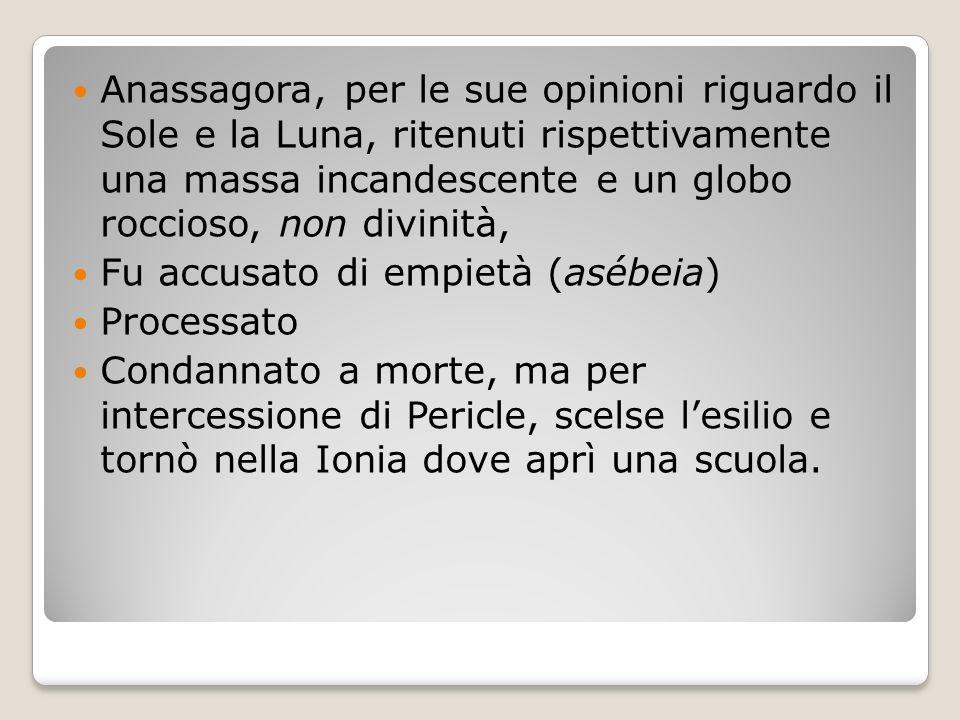 Anassagora, per le sue opinioni riguardo il Sole e la Luna, ritenuti rispettivamente una massa incandescente e un globo roccioso, non divinità, Fu acc