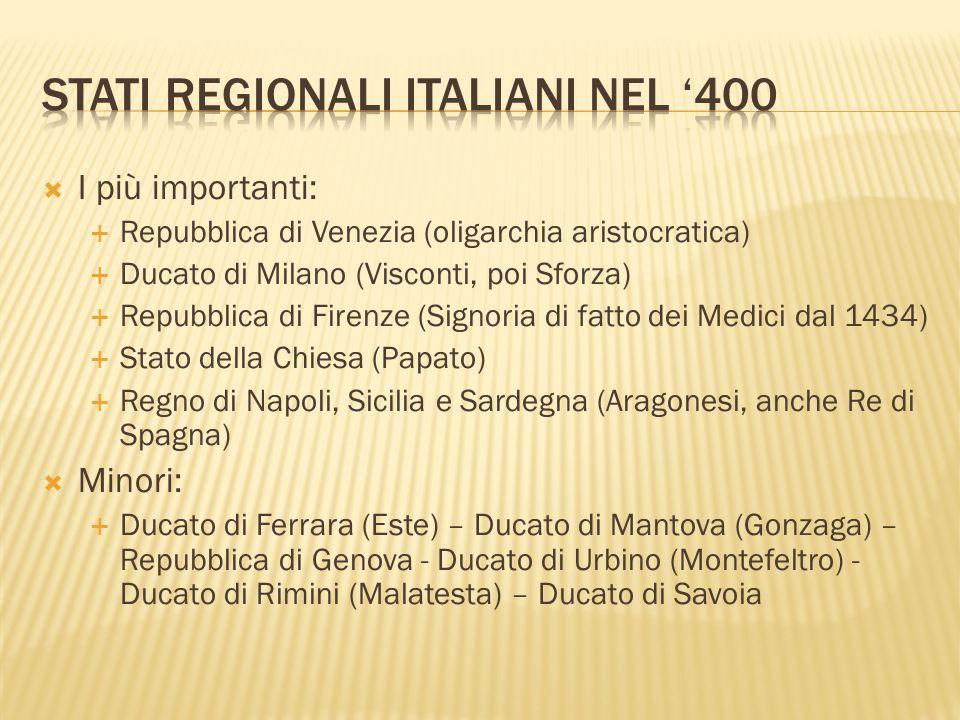 I più importanti: Repubblica di Venezia (oligarchia aristocratica) Ducato di Milano (Visconti, poi Sforza) Repubblica di Firenze (Signoria di fatto de