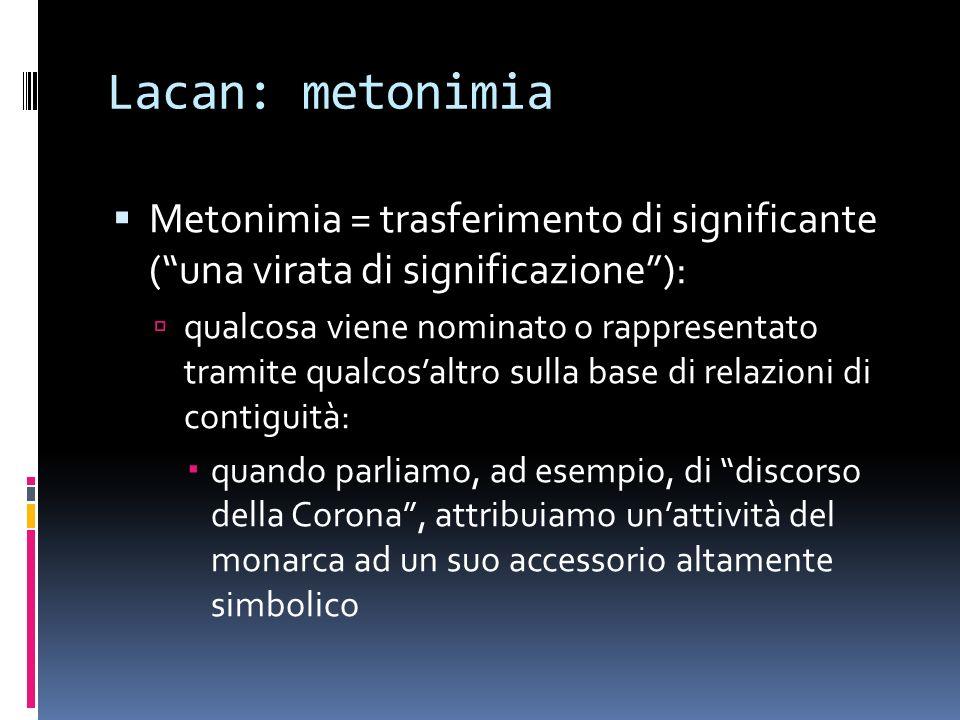 Lacan: metonimia Metonimia = trasferimento di significante (una virata di significazione): qualcosa viene nominato o rappresentato tramite qualcosaltr