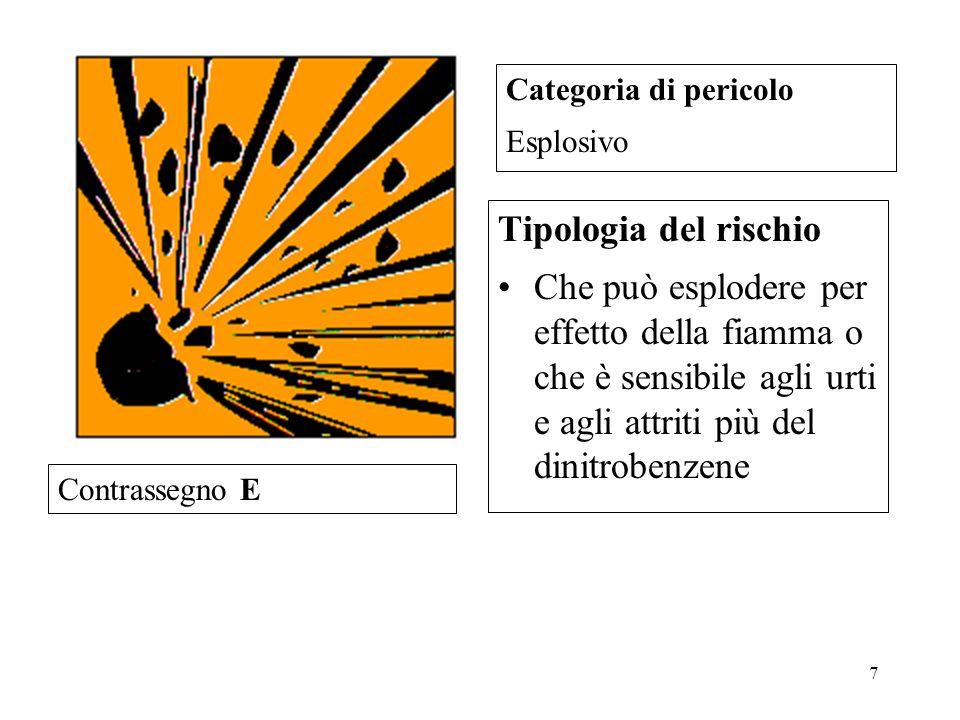 7 Tipologia del rischio Che può esplodere per effetto della fiamma o che è sensibile agli urti e agli attriti più del dinitrobenzene Categoria di pericolo Esplosivo Contrassegno E