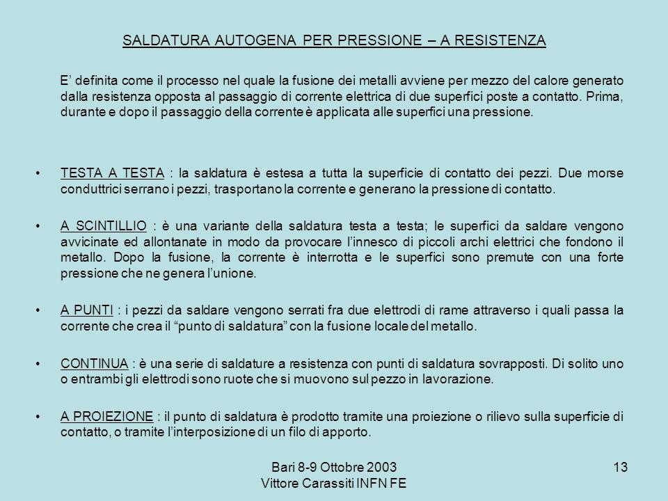 Bari 8-9 Ottobre 2003 Vittore Carassiti INFN FE 13 SALDATURA AUTOGENA PER PRESSIONE – A RESISTENZA E definita come il processo nel quale la fusione de