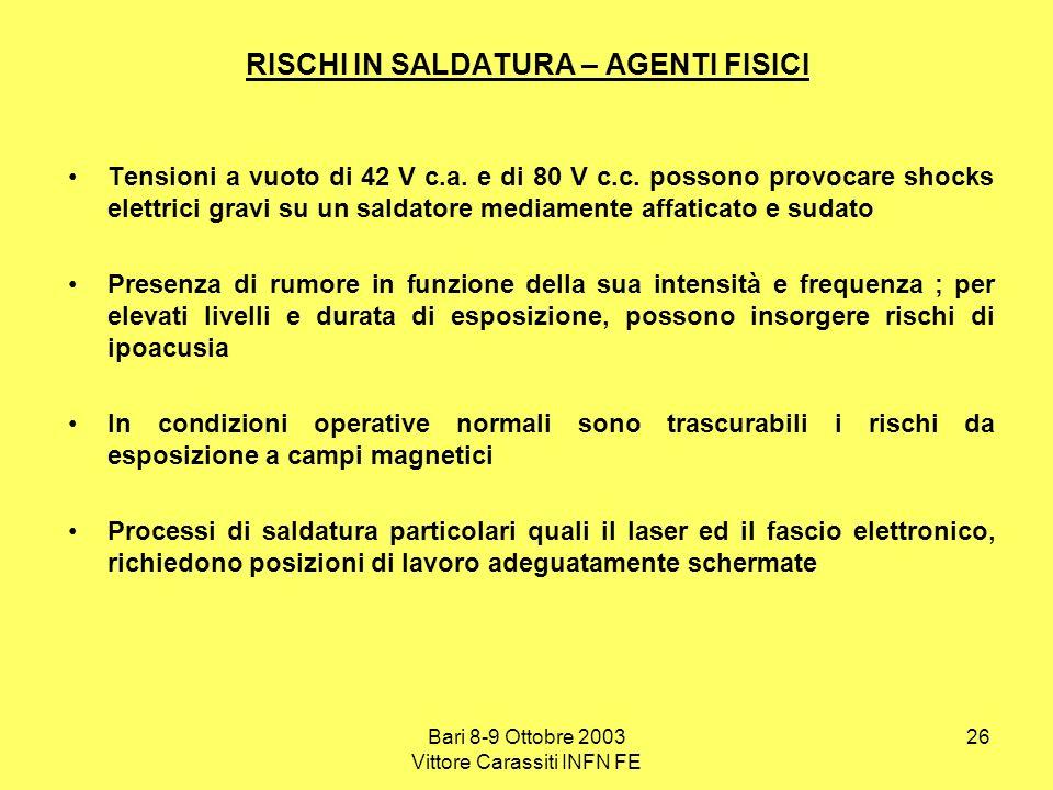 Bari 8-9 Ottobre 2003 Vittore Carassiti INFN FE 26 RISCHI IN SALDATURA – AGENTI FISICI Tensioni a vuoto di 42 V c.a. e di 80 V c.c. possono provocare