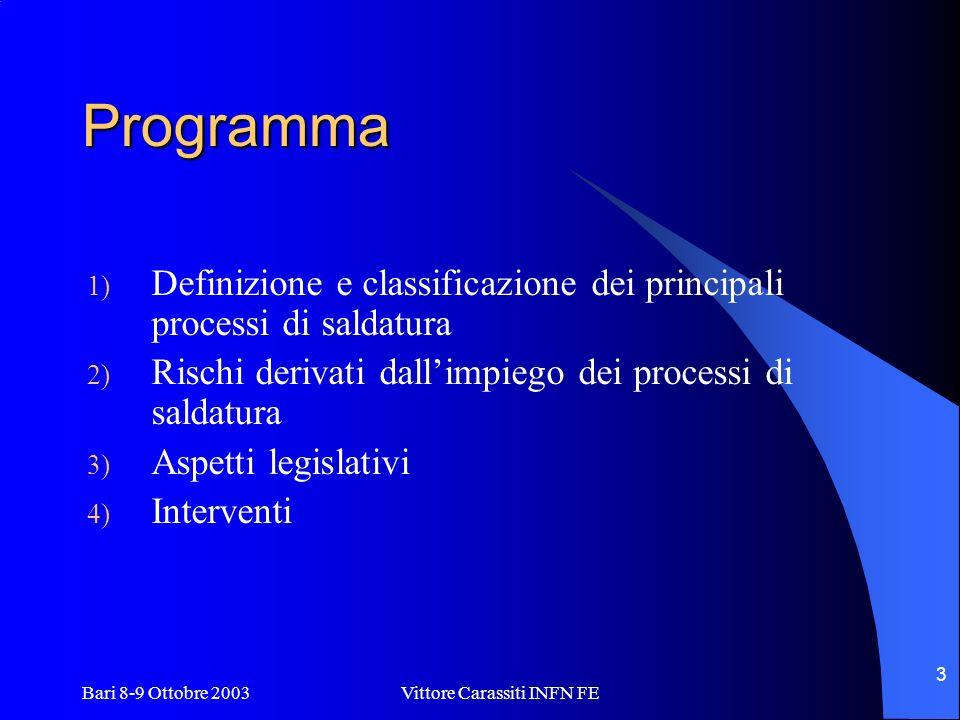Bari 8-9 Ottobre 2003 Vittore Carassiti INFN FE 3 Programma 1) Definizione e classificazione dei principali processi di saldatura 2) Rischi derivati d