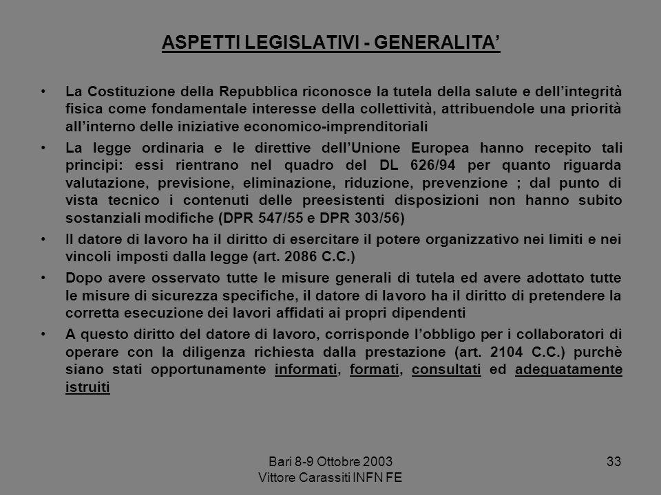 Bari 8-9 Ottobre 2003 Vittore Carassiti INFN FE 33 ASPETTI LEGISLATIVI - GENERALITA La Costituzione della Repubblica riconosce la tutela della salute
