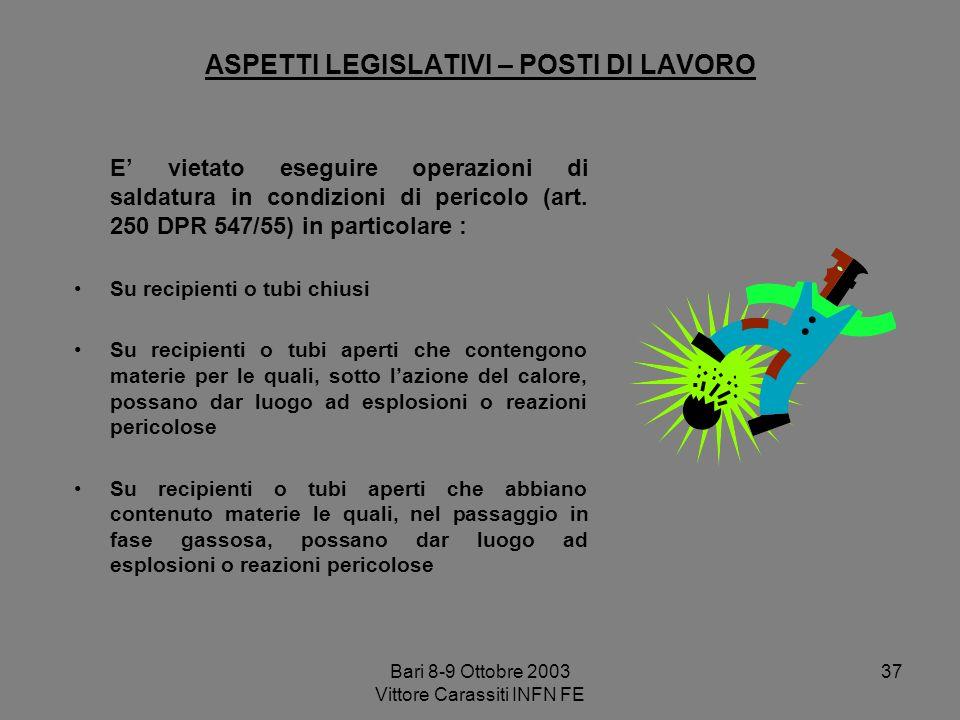 Bari 8-9 Ottobre 2003 Vittore Carassiti INFN FE 37 ASPETTI LEGISLATIVI – POSTI DI LAVORO E vietato eseguire operazioni di saldatura in condizioni di p