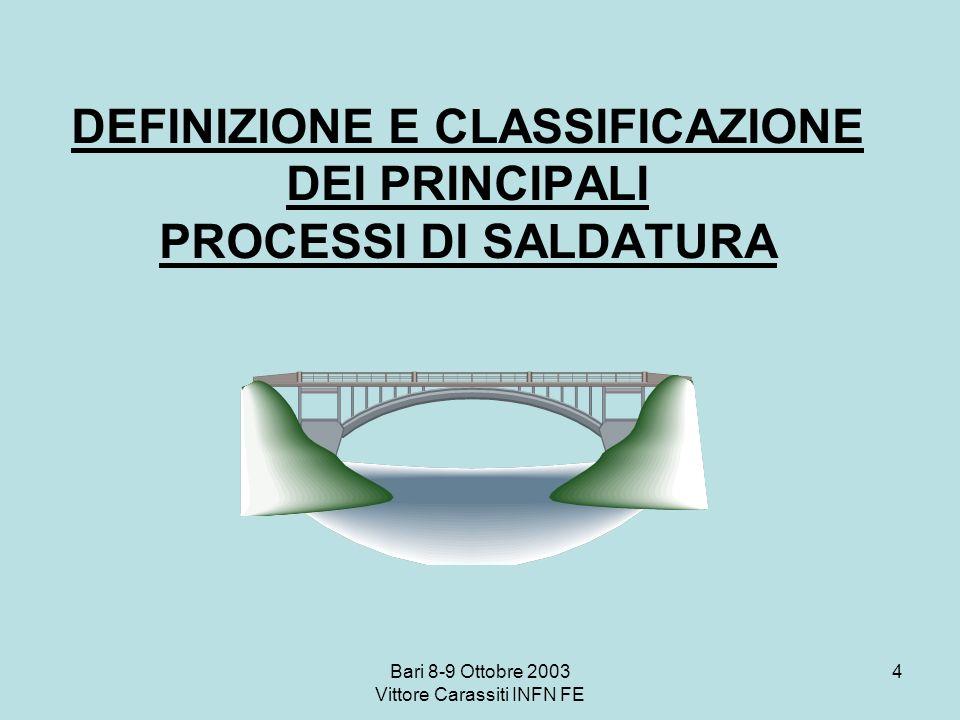 Bari 8-9 Ottobre 2003 Vittore Carassiti INFN FE 4 DEFINIZIONE E CLASSIFICAZIONE DEI PRINCIPALI PROCESSI DI SALDATURA