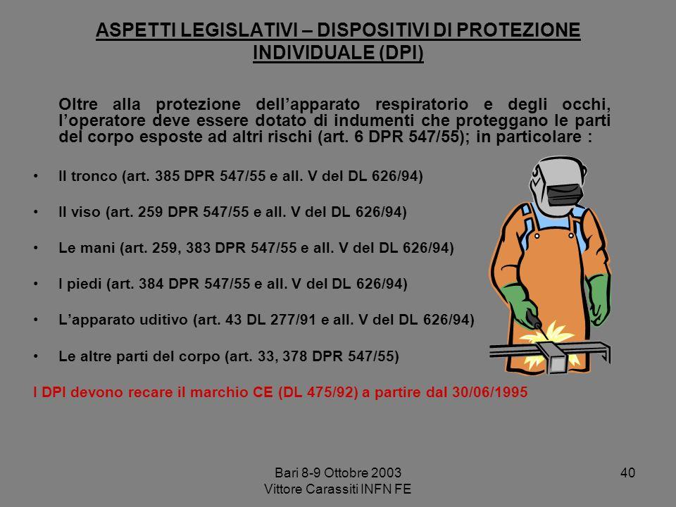 Bari 8-9 Ottobre 2003 Vittore Carassiti INFN FE 40 ASPETTI LEGISLATIVI – DISPOSITIVI DI PROTEZIONE INDIVIDUALE (DPI) Oltre alla protezione dellapparat
