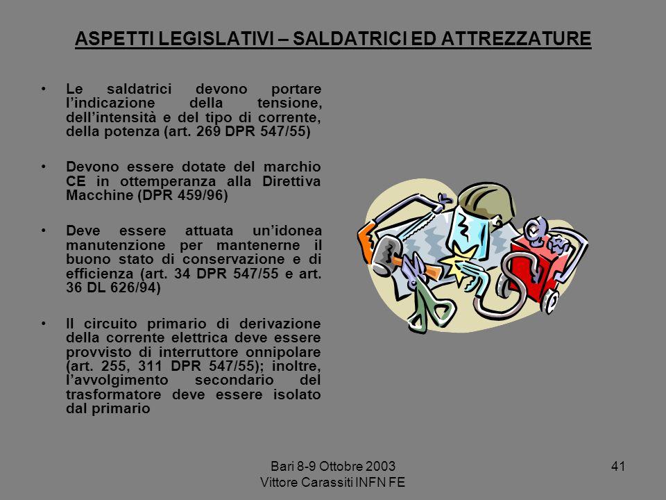 Bari 8-9 Ottobre 2003 Vittore Carassiti INFN FE 41 ASPETTI LEGISLATIVI – SALDATRICI ED ATTREZZATURE Le saldatrici devono portare lindicazione della te