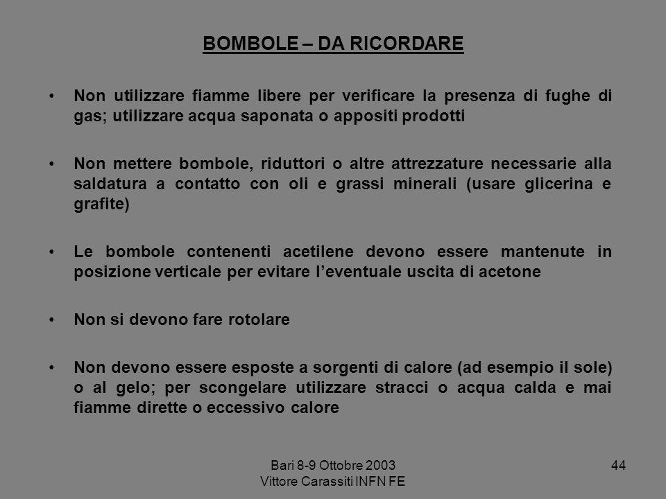 Bari 8-9 Ottobre 2003 Vittore Carassiti INFN FE 44 BOMBOLE – DA RICORDARE Non utilizzare fiamme libere per verificare la presenza di fughe di gas; uti