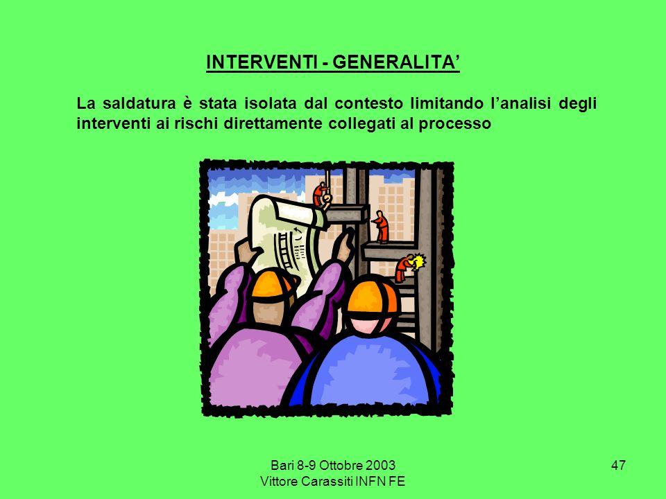 Bari 8-9 Ottobre 2003 Vittore Carassiti INFN FE 47 INTERVENTI - GENERALITA La saldatura è stata isolata dal contesto limitando lanalisi degli interven