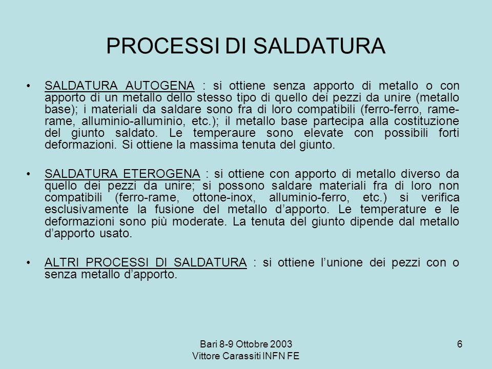 Bari 8-9 Ottobre 2003 Vittore Carassiti INFN FE 6 PROCESSI DI SALDATURA SALDATURA AUTOGENA : si ottiene senza apporto di metallo o con apporto di un m