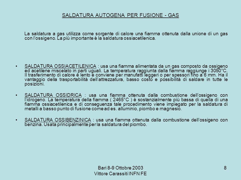 Bari 8-9 Ottobre 2003 Vittore Carassiti INFN FE 8 SALDATURA AUTOGENA PER FUSIONE - GAS La saldatura a gas utilizza come sorgente di calore una fiamma