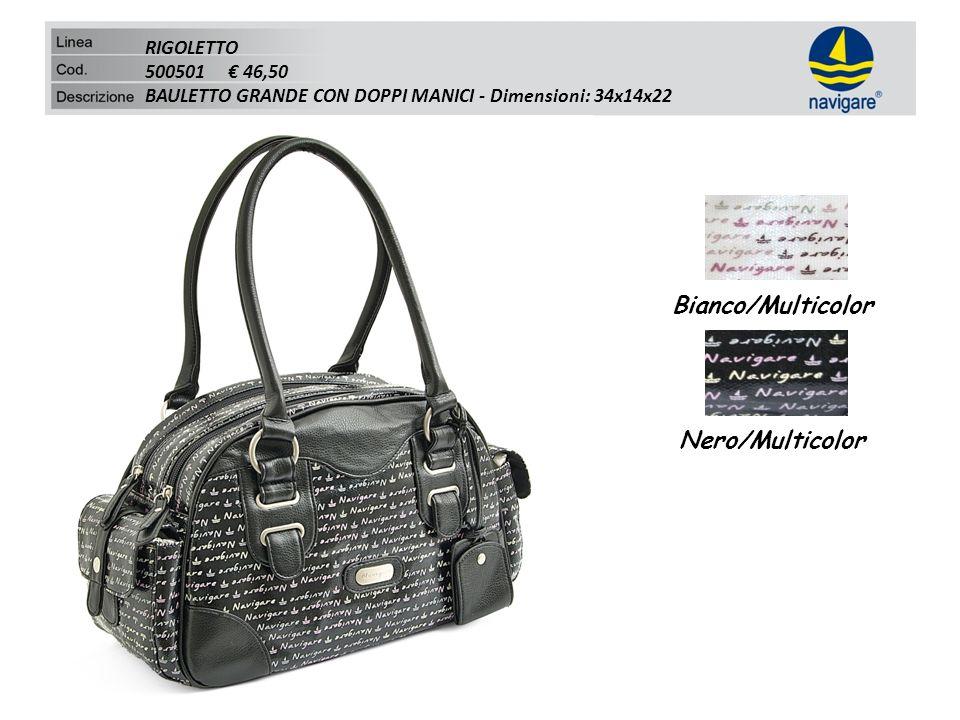 RIGOLETTO 500501 46,50 BAULETTO GRANDE CON DOPPI MANICI - Dimensioni: 34x14x22 Bianco/Multicolor Nero/Multicolor